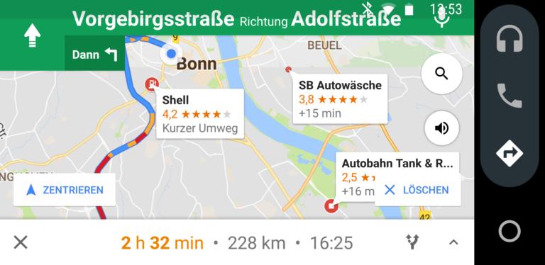 Tja, wohin jetzt? Android Auto versagt bei der einfachen Frage nach der nächsten Raststätte.