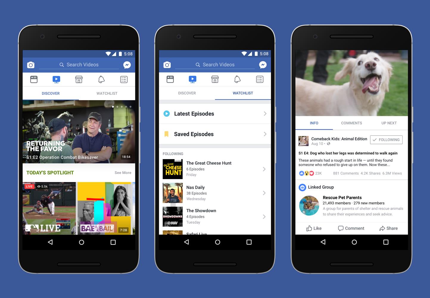 So sieht Facebook Watch auf dem Smartphone aus (Bild: Facebook)