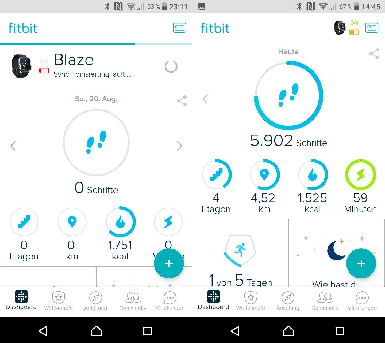 Auf dem Dashboard der Fitbit-App wird alles Wichtige angezeigt: Akkustand, Firmware-Updates und natürlich die Tageswerte (Screenshots: Peter Giesecke)