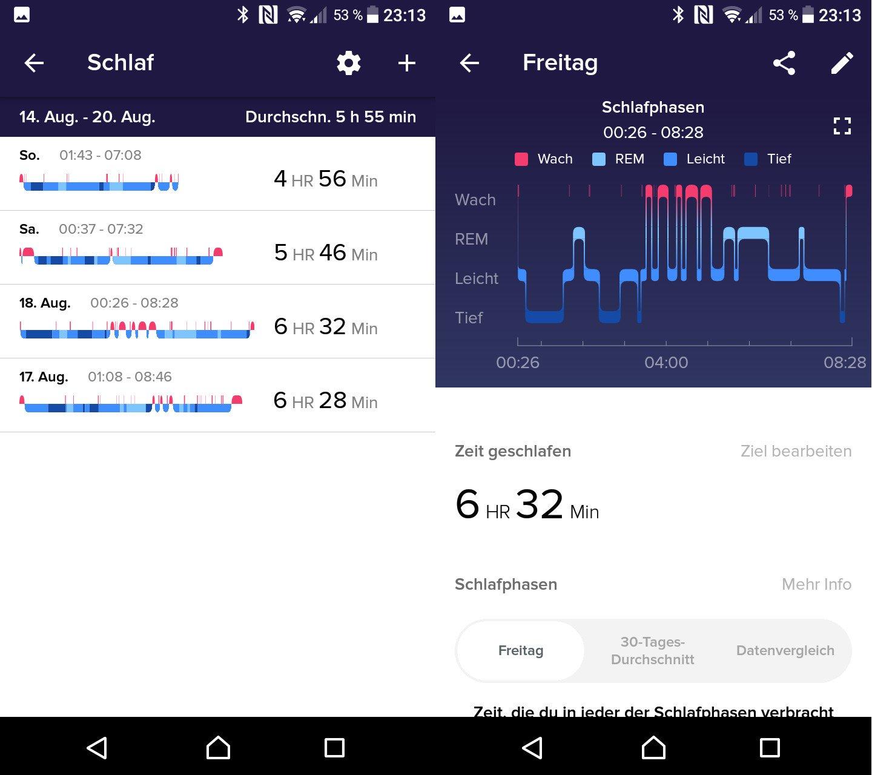 Die Fitbit-App zeigt den Tiefschlaf, aber auch die unruhigen Phasen (Screenshots: Peter Giesecke)