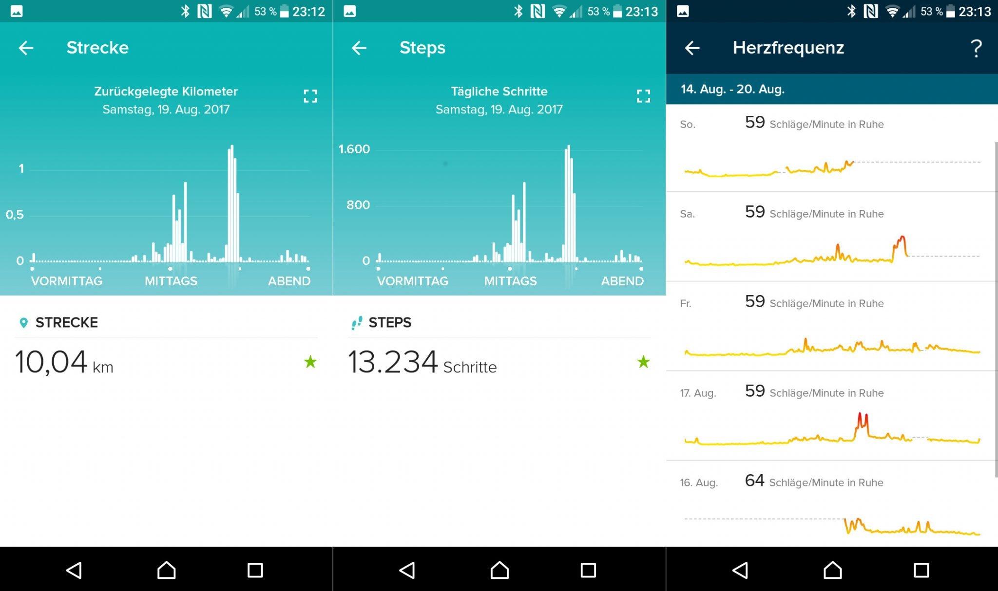Kilometer, Schritte und Herzfrequenz korrelieren: Schöne Übersichten in der Fitbit-App (Screenshots: Peter Giesecke)