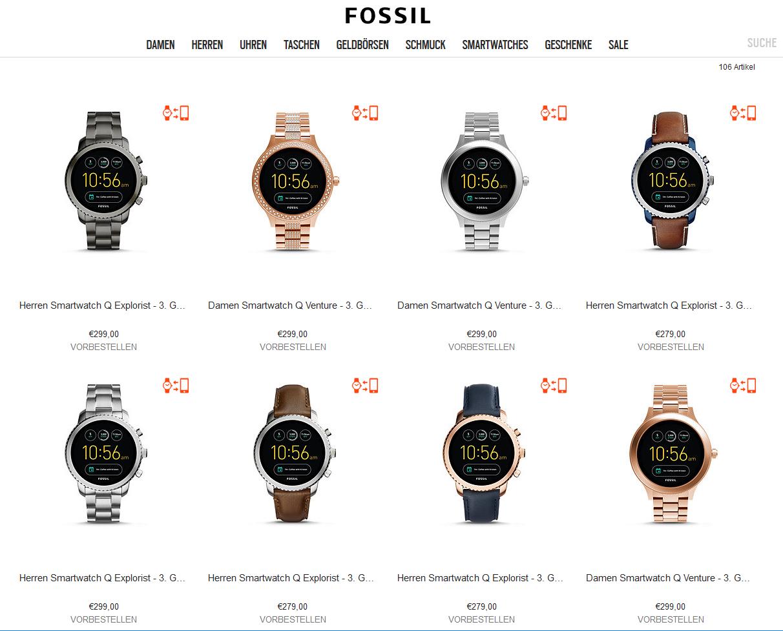 Fossil bietet gleich eine Reihe von Smartwatches an (Screenshot von fossil.com)