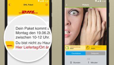 SIMSme kündigt DHL-Pakete an (Bilder: SIMSme)