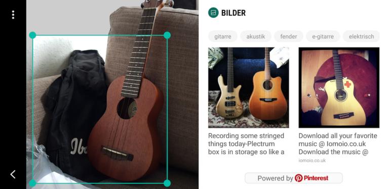 Bixby Vision hält meine Ukulele zunächst für eine Gitarre.