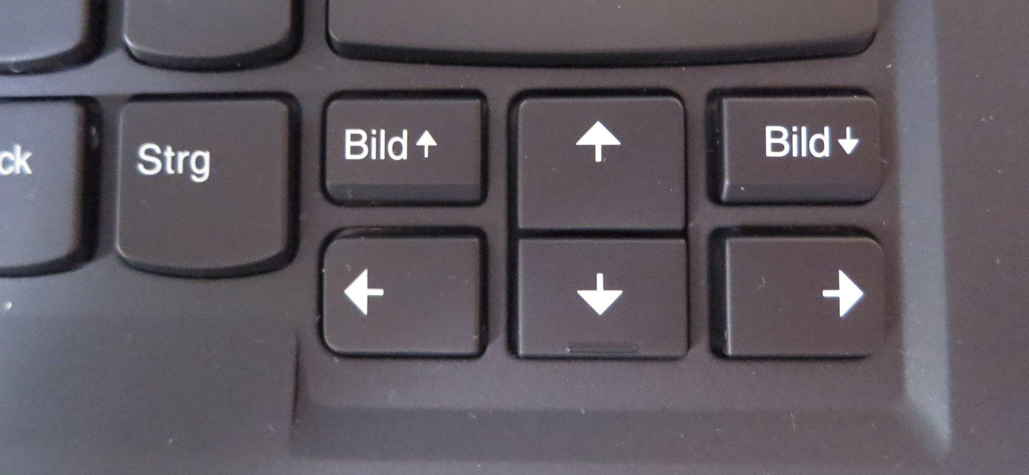 Löblich: Bild hoch und Bild runter befinden sich beim Lenovo Thinkpad X1 Carbon nicht in der Zweitbelegung (Bild: Peter Giesecke)