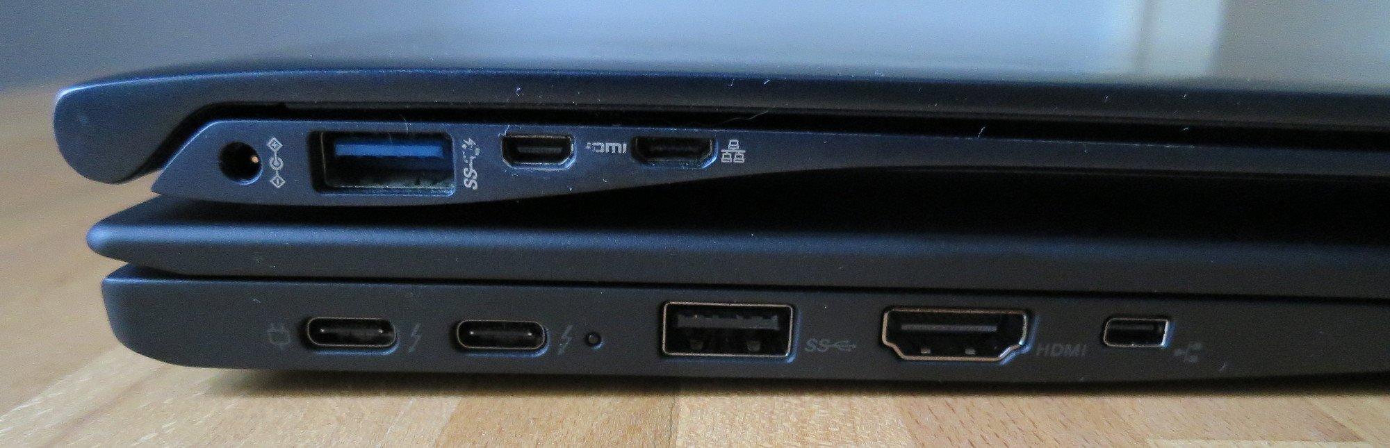 Der große HDMI-Port am Lenovo Thinkpad X1 Carbon (unten) gibt mehr Stabilität als der kleine am Samsung Ativ Book 9 (Bild: Peter Giesecke)
