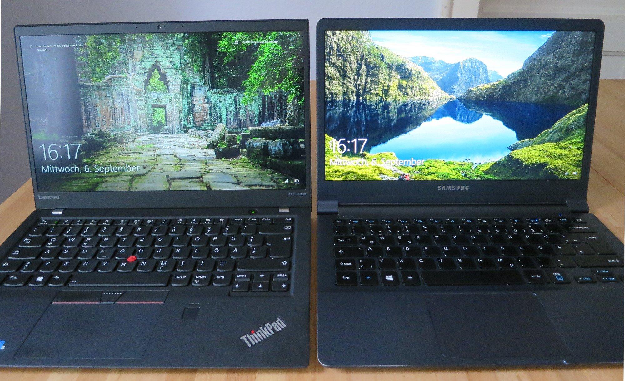 Lenovo Thinkpad X1 Carbon (links) und Samsung Ativ Book 9: Fast gleich groß, doch links mit 14-Zoll-Display, rechts bloß 13,3 Zoll (Bild: Peter Giesecke)