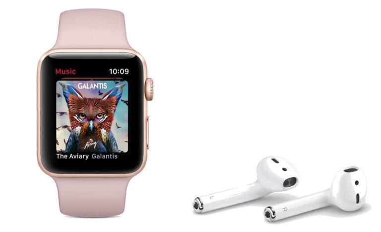 Die Apple Air Pods neben einer Apple Watch Series 3