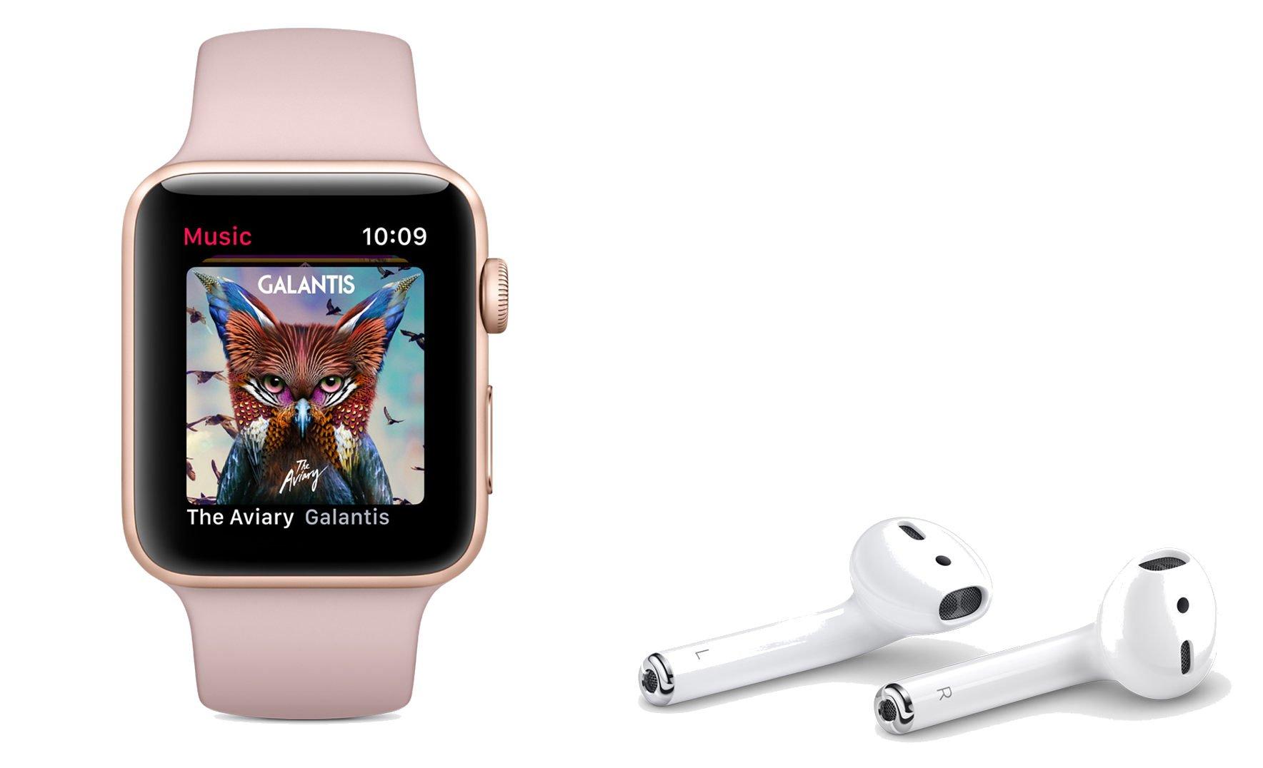 Die Airpods dürfen natürlich nicht fehlen, wenn die Apple Watch Series 3 Musik abspielt (Bild: Apple)
