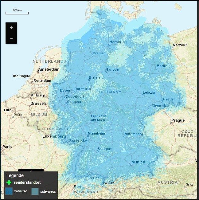 Die DAB+ Netzabdeckung in Deutschland Ende 2017: Noch große Lücken im Norden und Nordosten. Karte: Digitalradio.de