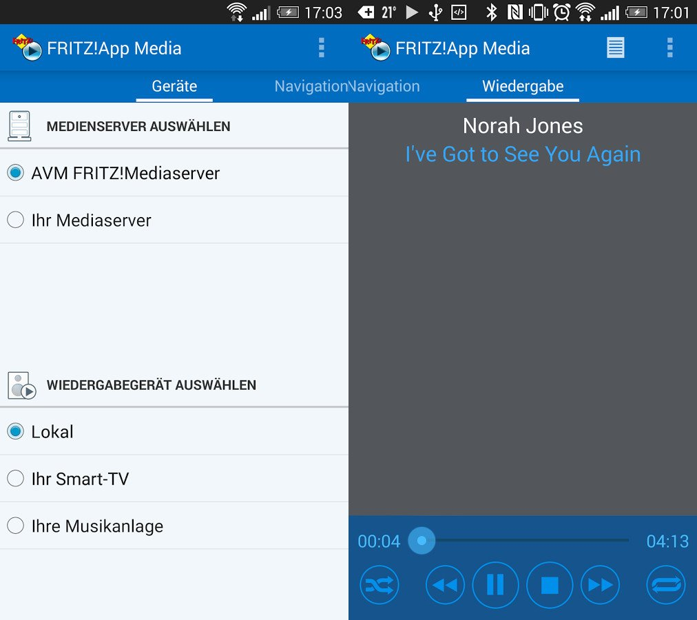 Mit der Fritzapp Media lassen sich alle Medien des Fritzbox-Mediaservers wiedergeben (Bild: Google Play Store)