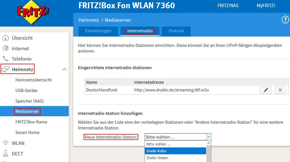 So richtet ihr im Mediaserver der Fritzbox Internetradio ein (Screenshot: Peter Giesecke)