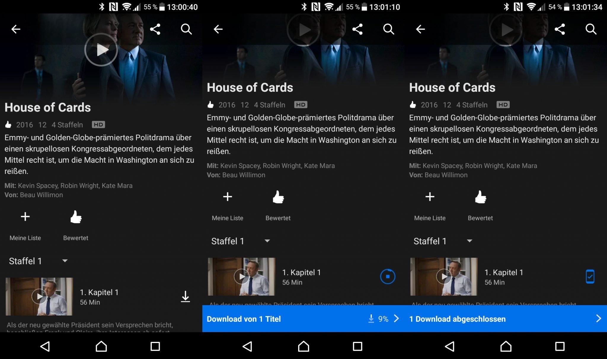 Wer seine Serie rechtzeitig aufs Smartphone lädt, kann sie offline schauen und verbraucht keine mobilen Daten (Screenshots: Peter Giesecke)