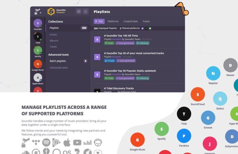 Soundiiz: Eine Art Meta-Tool für Streaming-Dienste, mit dem sich auch Playlists exportieren lassen.