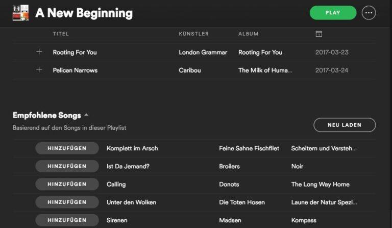 Spotify empfiehlt euch weitere Songs, die zu eurer Playlist passen. Mit einem Klick einfach hinzufügen.
