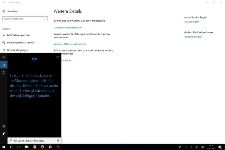 Sicher bald auch in Deutschland möglich - Neustart mit Cortana. (Foto: Screenshot)
