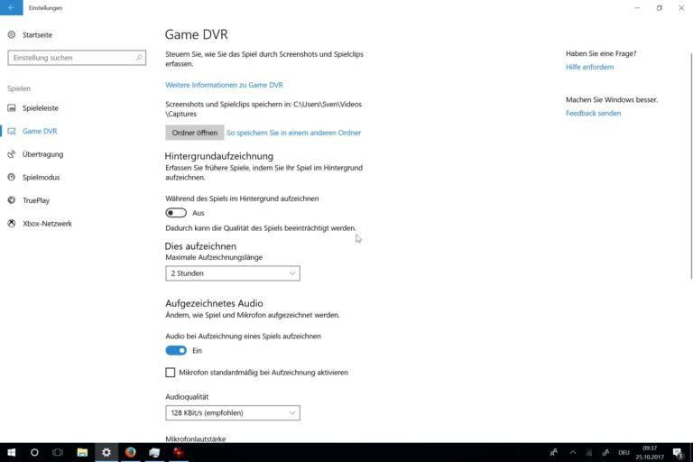 Einstellungen für Game DVR. (Foto: Screenshot)