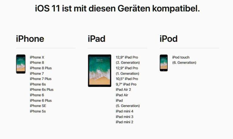 iOS 11 erschien für viele iOS-Geräte. Aber nicht alle eignen sich für ARKit. (Foto: Apple / Screenshot)