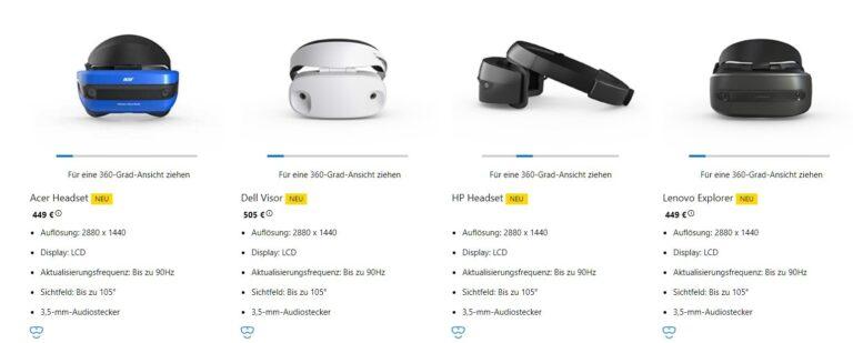 Die Brillen unterscheiden sich kaum. (Foto: Screenshot / Microsoft)