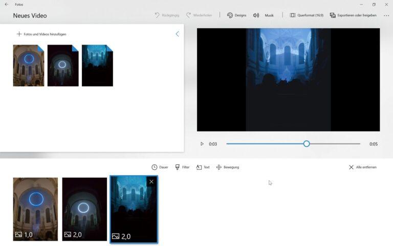 Erstellt Slideshows und schneidet Videos. (Foto: Screenshot)