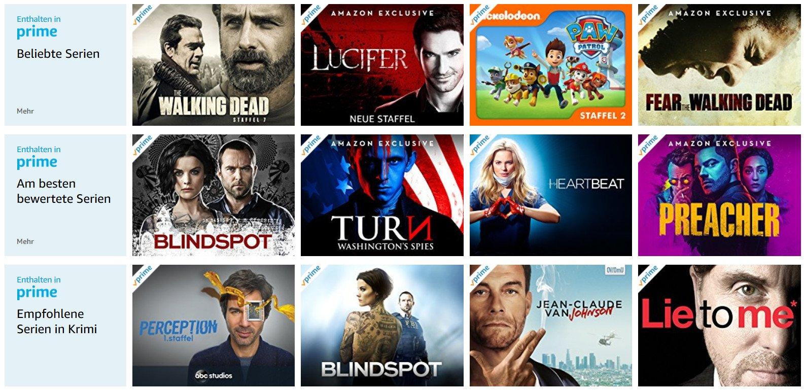 Amazon Prime Video bietet ein großes Angebot an Serien und Filmen (Screenshot von amazon.de)