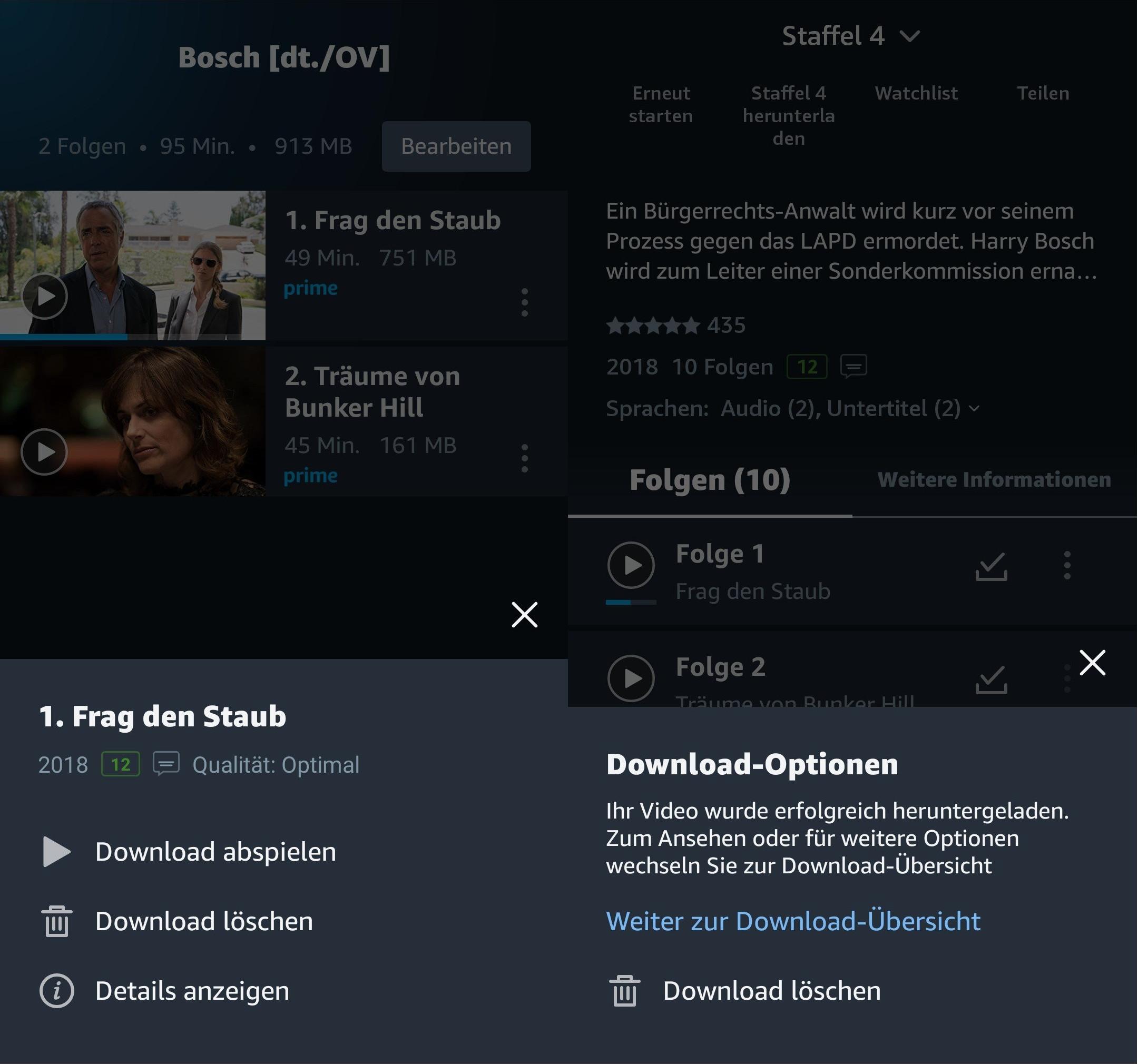 Downloads löschen in Amazon Prime Video