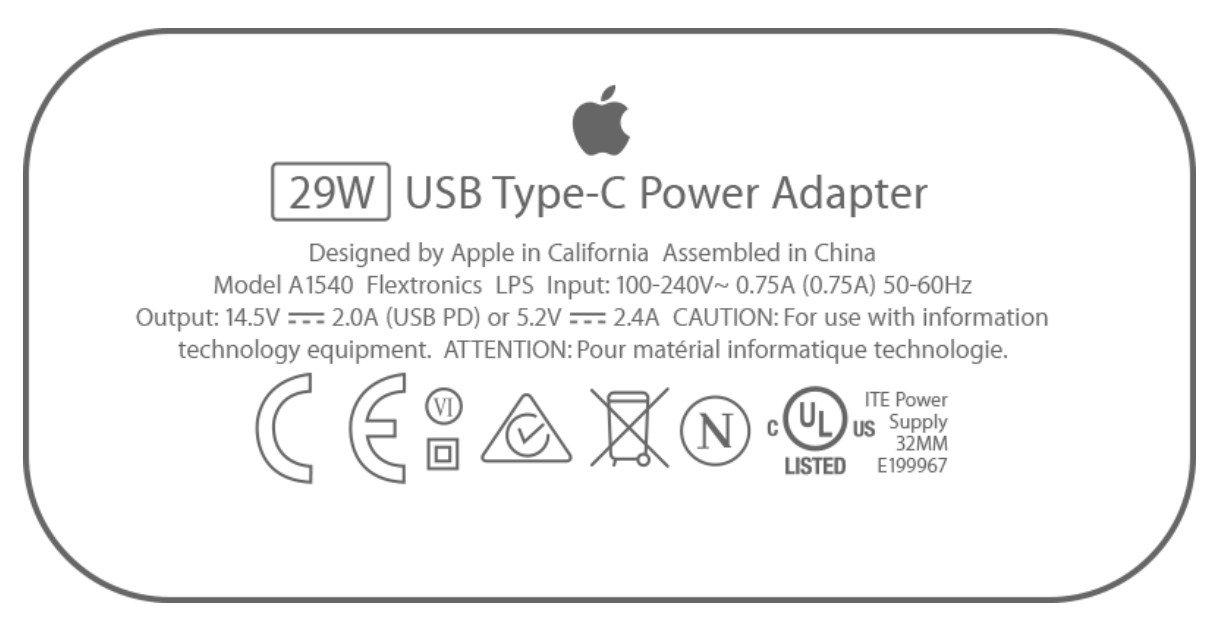 Auf einem vorhandenen Netzteil könnt ihr nachschauen, mit wieviel Watt es lädt (Bild: Apple)