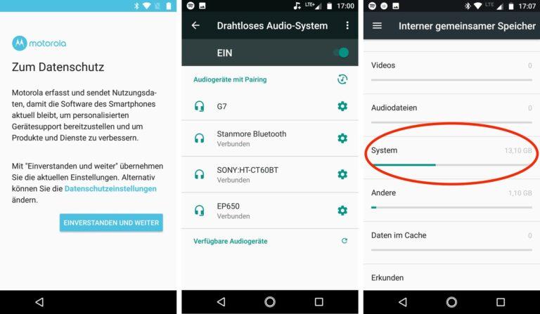 Links: Friss oder stirb – der Einrichtungsassistent im Moto X4 erlaubt kein Opt-out aus der Datenübermittlung an Motorola. Mitte: Multiroom im X4 erlaubt das gleichzeitige Beispielen von vier Bluetooth-Lautsprechern auf einmal. Rechts: Stolze 13 GB der 32 GB Speicher beansprucht alleine das System.