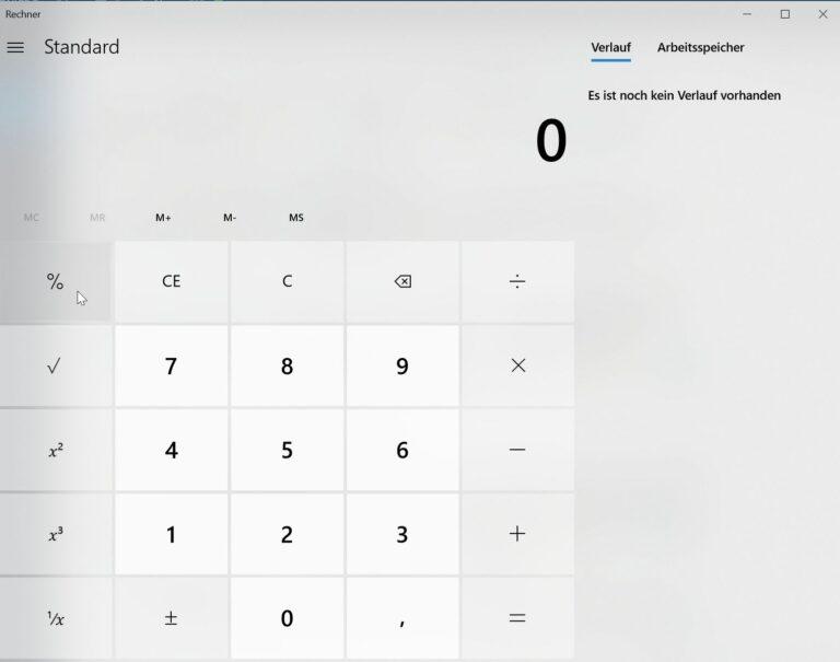 Der Taschenrechner im neuen Design. (Foto: Screenshot)