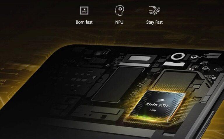Werbung für das Huawei Mate 10 Pro, das einen neuen Chip für künstliche Intelligenz integriert hat.