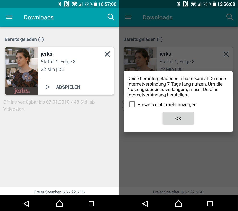 Nur eine der Beschränkungen beim Download im Maxdome Paket (Screenshots: Peter Giesecke)