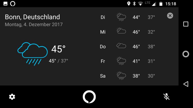 Ganz schön heiß für diese Jahreszeit... Alexa zeigt die Temperatur in Fahrenheit an, was sich in der Moto-App selbst leider nicht verstellen lässt.