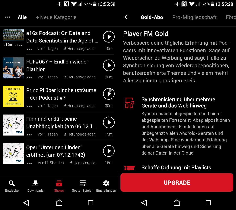 Gegen 99 Cent pro Monat erlaubt der Podcast Player das Synchronisieren von Abspielpositionen in Podcast-Episoden (Screenshots: Peter Giesecke)