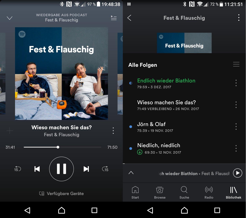 Podcasts auf Spotify lassen sich nicht schneller abspielen (Screenshot: Peter Giesecke)