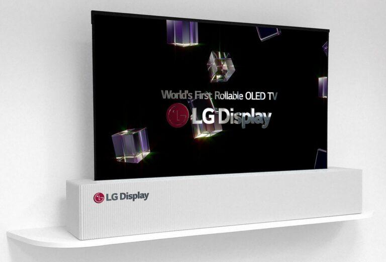 Dieser OLED-Fernseher von LG rollt sich wie eine Leinwand auf und verschwindet im Kasten (Bild: LG)
