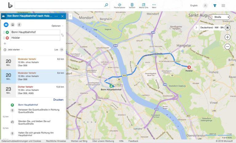 Bing Maps Karten Routenplaner Auto KFZ