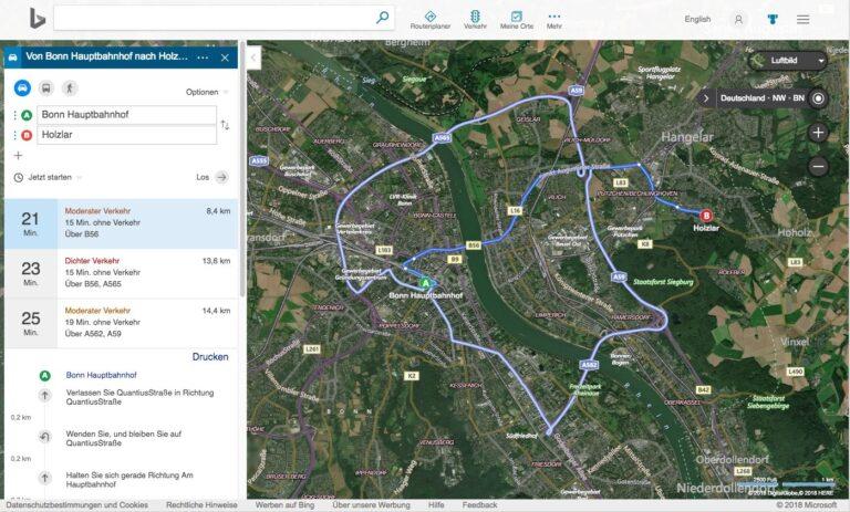 Bing Maps Karten Routenplaner Luftbild