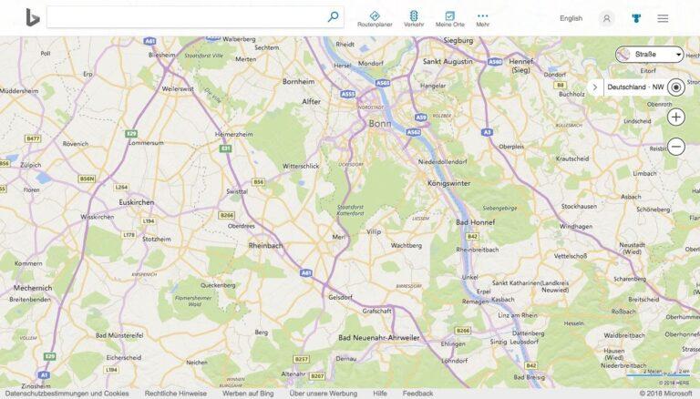 Bing Maps Karten Startseite Übersichtskarte