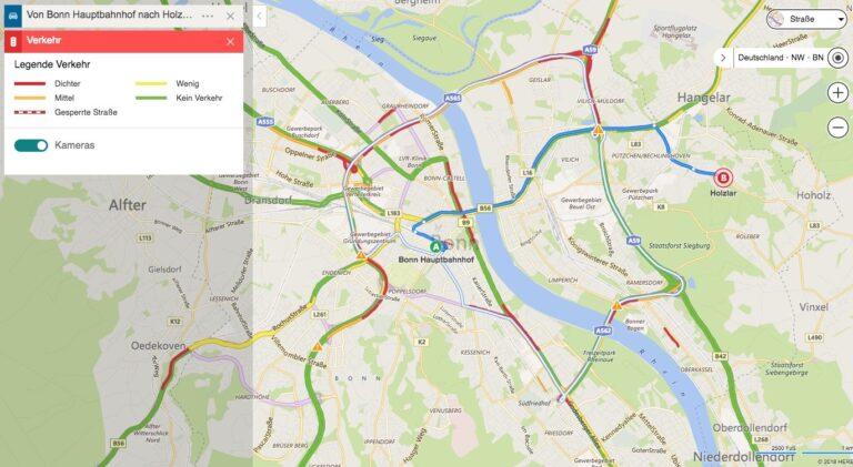 Bing Maps Karten Verkehr Verkehrsdichte