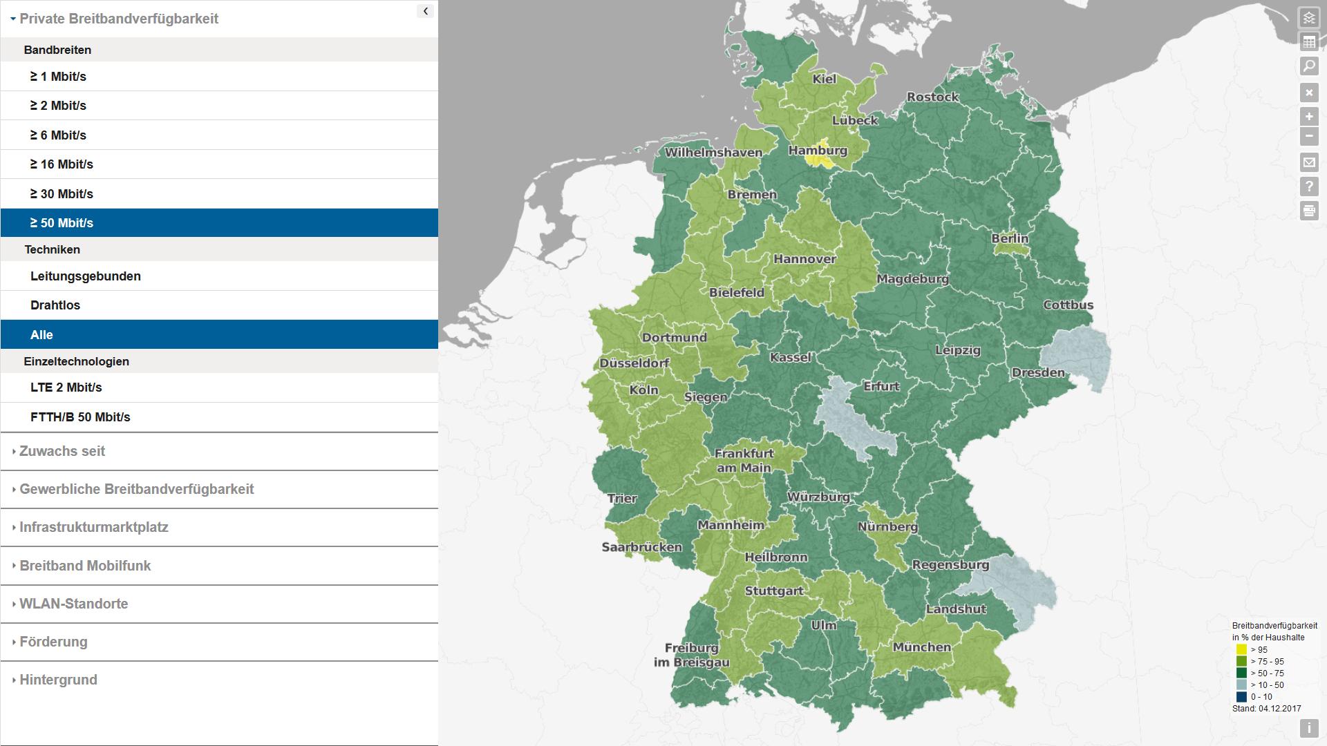 Der Breitbandatlas des Bundeswirtschaftsministeriums zeigt die mit 50-Mbit/s-Internetzugängen unterversorgten Gebiete (Screenshot von bmvi.de)