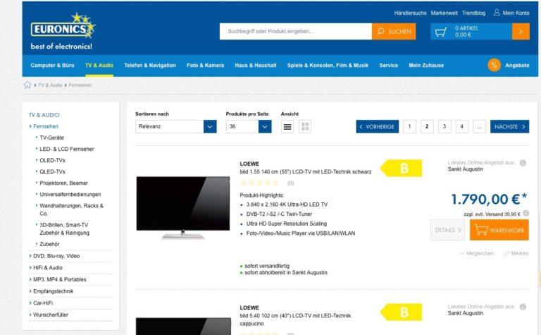 Euronics Online-Shop TV-Vergleich