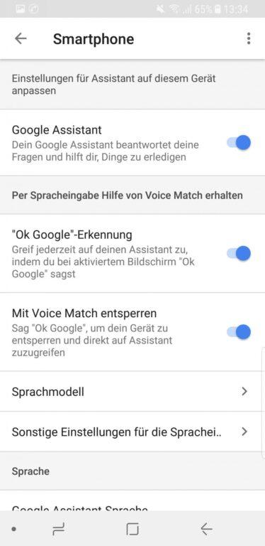 Den Google Assistant aktivieren - das geht direkt in den Einstellungen. (Foto: Screenshot)