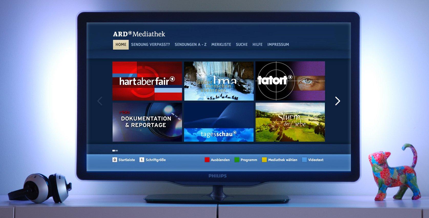 Wer die ARD-Mediathek auf seinem Fernseher sieht, nutzt HbbTV und damit auch digitales Kabelfernsehen (Bild: ARD)