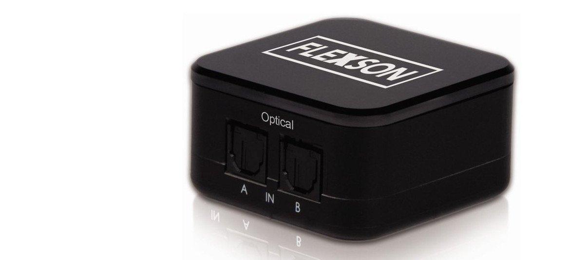 Der Digital-Audio-Umschalter von Flexson verbindet auch mehrere Audiogeräte, wenn nicht genug Anschlüsse vorhanden sind (Bild: Flexson)