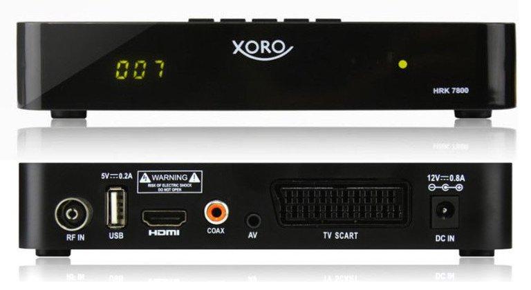 Der Xoro HRK 7800 ist ein typischer DVB-C-Receiver, den ihr zwischen Kabeldose und eurem Fernseher schalten könnt (Bild: Xoro)