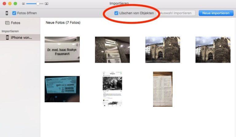 Fotos App Mac Löschen von Objekten