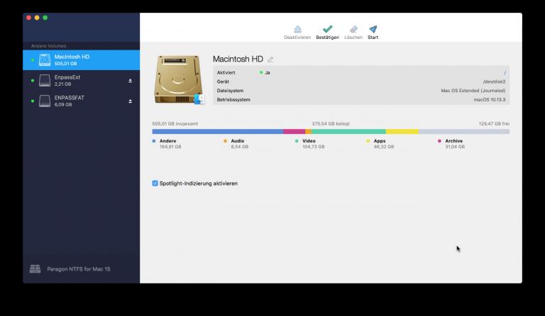 NTFS für Mac zeigt HFS+-Platte