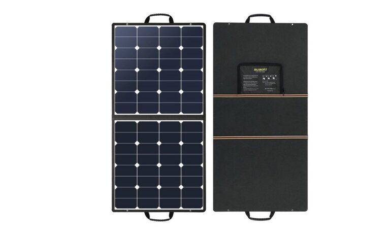 Ein faltbares Solarpanel lässt sich leicht transportieren und kann über 100 Watt liefern. Bild: Suaoki