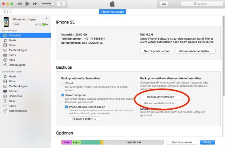 iPhone-Backup über iTunes