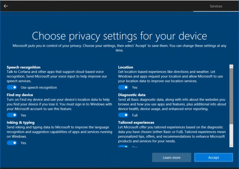Auch Privatsphäre-Einstellungen könnt ihr nun besser vornehmen. (Foto: Microsoft)